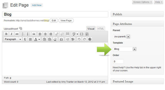 wordpress support exempting about me page from page template
